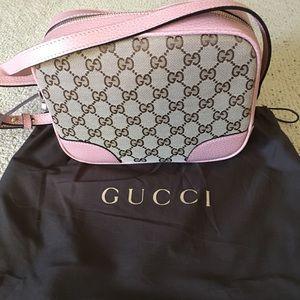 Gucci 449413 Beige Pink Canvas  GG Guccissima